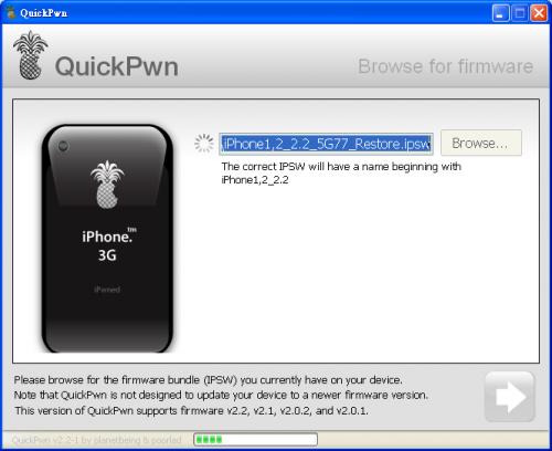 QuickPWN 會自動偵測系統中的 iPhone 2.2 更新檔,按下一步就可以了。
