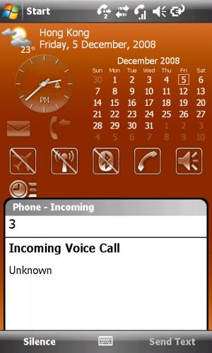 Xperia X1 電話接聽介面。