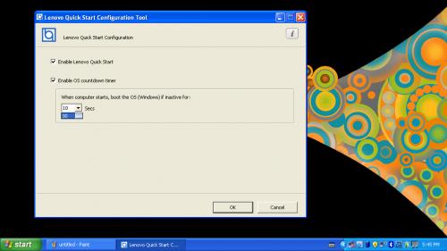 開機時,用家只需按動指定按鍵,便可進入《Quick Start》介面。如用家想直接進入《Windows XP》,可在《XP》中的《Lenovo Quick Start Configuration Tool》中,設定開機時閒置多久便直接進入《Windows》作業系統,十分方便。當然,如用家根本用不著此介面,同樣可在此介面取消勾選「Enable Lenovo Quick Start」,系統便會直接進入《Windows》作業系統了。