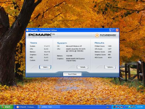 由於採用硬件與一般市面 netbook 相同,所以透過《PCMark05》得出的測試分數也自然相若。