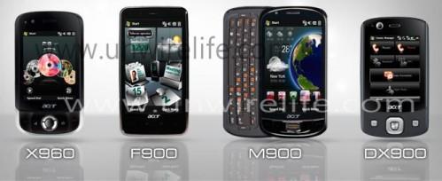 Acer 4 部全新 WM 手機(左至右):X960、F900、M900 及 DX900。