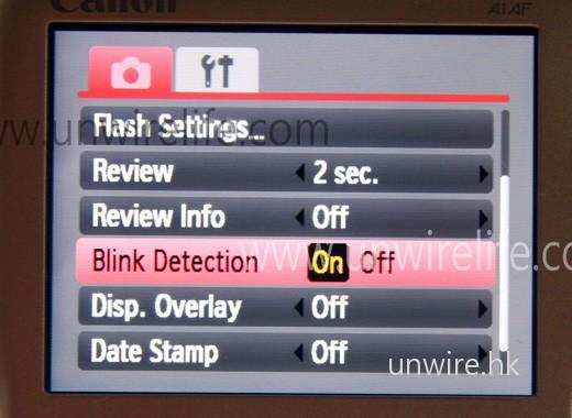 IXUS 100 IS 及 110 IS 也加入了眨眼偵測功能,只需在系統設計中,將「Blink Detection」選項設定為「On」便可啟動。