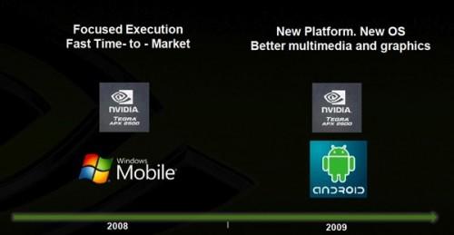 從此圖可見,Nvidia 在 09 年打算將晶片引入 Android 平台。