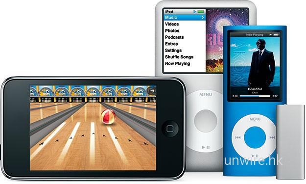 從此圖可見,全新 iPod Shuffle 確實十分細小,只有 iPod Nano 約 1/4  大小,掛頸也不覺重。
