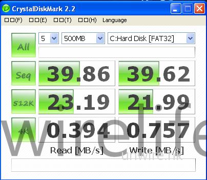 筆者所得到的測試版本為 160GB 硬碟版,所以透過《CrystalMark 2.2》測試,可見讀、寫速度只有 39.86MB/s 及 39.62MB/s,屬於較慢速的硬碟。不過此機只屬測試樣本,出街版本可能會較佳;而且 Asus HK 表示遲些還會有萬眾期待的 512GB SSD 版本,相信屆時的讀、寫速度將有機會得到改善。