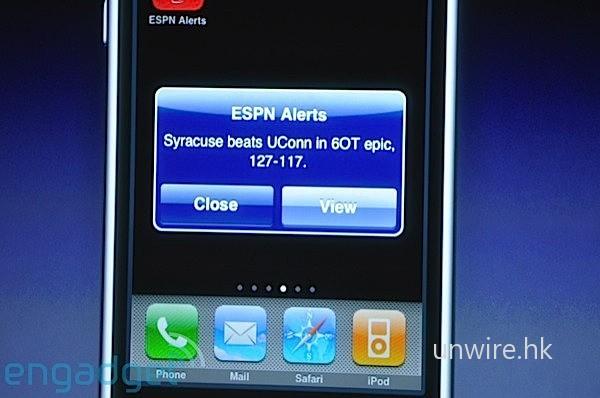 ESPN 的應用可以推送賽事的賽果。