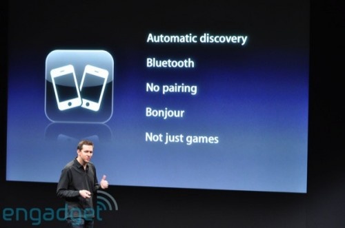 以「Bonjour」技術為 backbone,使 iPhone 用家之間無須經過配對,便可以藍牙接駁,然後可連線玩遊戲或配對周邊產品。