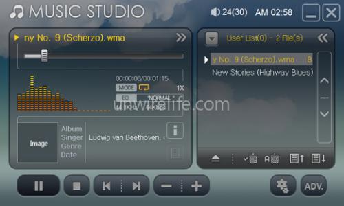 《Music Studio》為內建的音樂播放軟件。