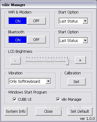 用家可使用《Viliv Manager》管理 Wi-Fi 及藍牙開啟,以及屏幕亮度等設定。