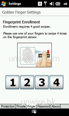 然後選定使用那根手指作辨識,再在辨識器上先後滑過 4 次,以將指紋紀錄保存在資料庫內。