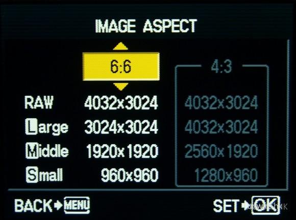 除了可選擇以RAW或JPEG拍攝,亦有4種畫面比例選擇。