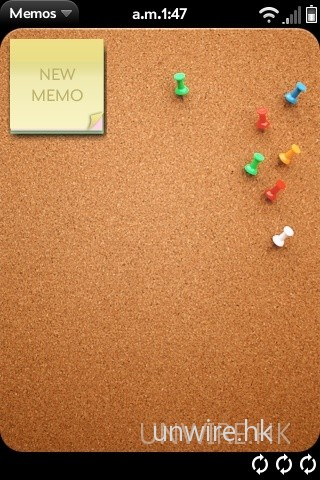 Palm Pre 內建的便條(Memos)功能,便猶如一塊真的水松木告示版。要新增便條,先點選一下「New Memo」。