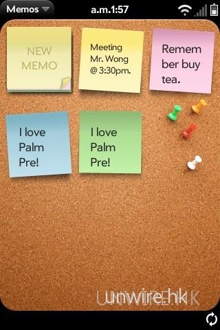 所有寫了的便條,可以不同顏色「張貼」在虛擬告示版上提醒自己。