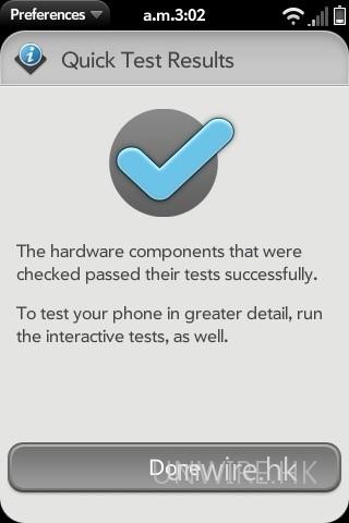 機內 Device Info 中亦設有手機測試程式,方便用家發現手機有什麼問題時,可以進行快速測試,以找出問題所在。