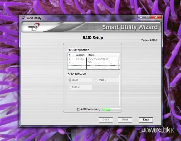 於 Windows 安裝程式後,就可以一步一步的進行設定。首先會顯示偵測到的硬碟,以及用戶想使用的 RAID 模式。