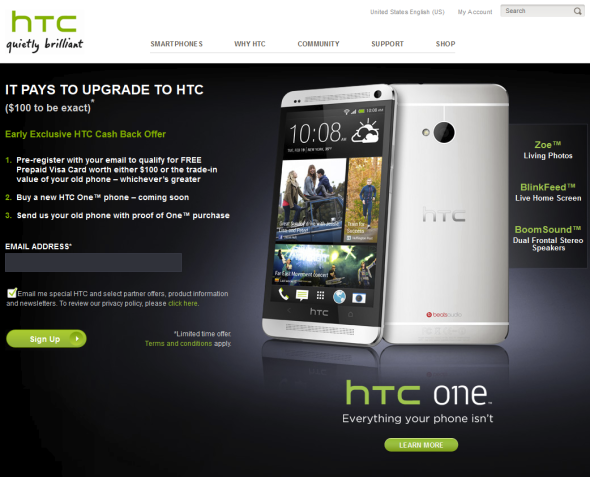 HTC One®$100 Trade In Offer