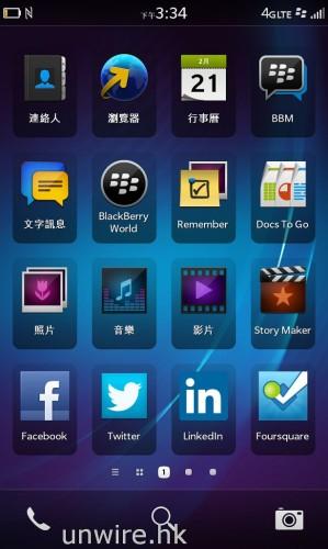 BlackBerry 10 OS 的操控介面,與 iPhone 一樣也是將所有程式捷徑全部放在桌面,方便用家啟動。