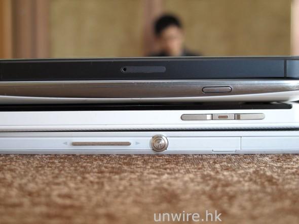至於厚度方面,從這張相片看來其實 4 機也差不多,相中從頂至底分別是 Apple iPhone 5、Samsung GS3、BlackBerry Z10 及 Sony Xperia Z。