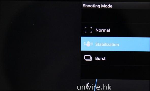 拍攝模式方面,設有正常、防手震及連拍三種模式。
