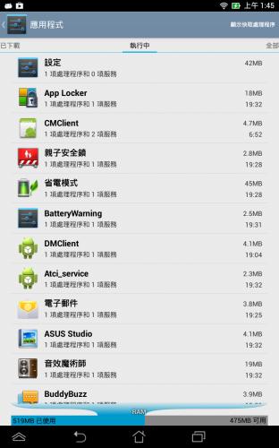 開機後有 4 百多 MB 記憶體可用,開啟數款 Apps 後才會感到不流暢。