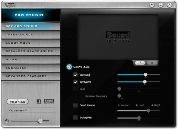 提供跟 Creative SB Z 系列音效卡相同的操作介面,SBX Pro Studio 讓玩家可更精細調音。