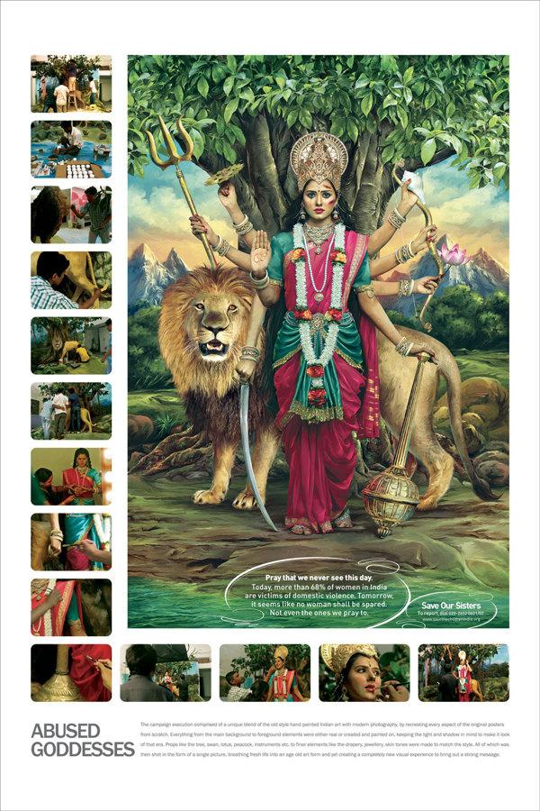 印度反暴力廣告,把女神打得一面瘀青