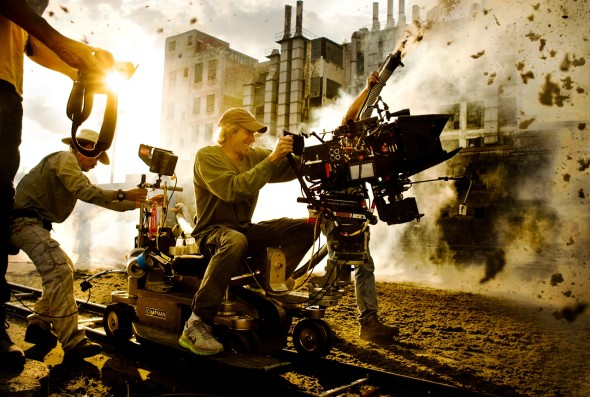 Director Michael Bay on the set of Transformers: Age of Extinction
