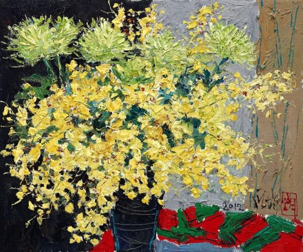 Pang Jiiun - Dancing Yellow Dots - 2012 - 60.6 x 72.7cma