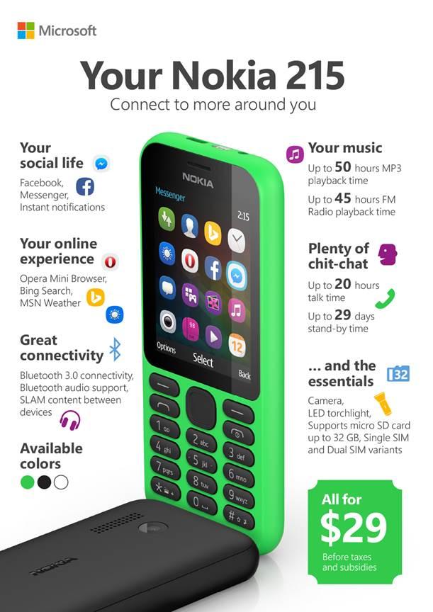 $250 有找可上網!Microsoft 推出超平價互聯網雙卡手機 Nokia 215