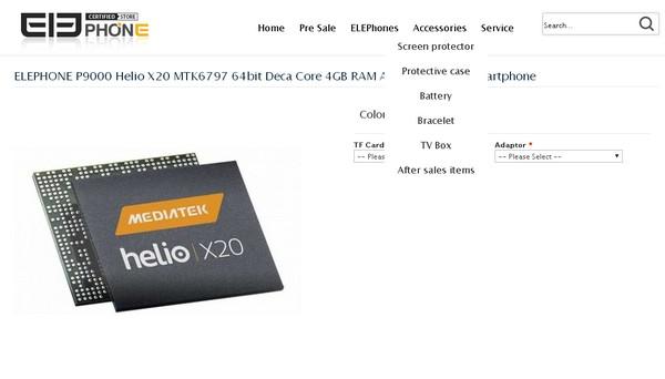 Elephone 官網上已詳細列出 P9000 的資料