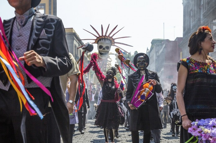The Day Of The Dead parade is recreated in Mexico City for Metro-Goldwyn-Mayer Pictures/Columbia Pictures/EON Productions' action adventure SPECTRE.