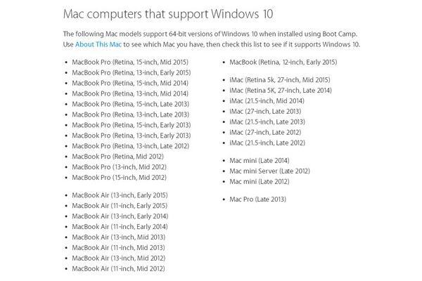 支援 Windows 10 Mac 機機種