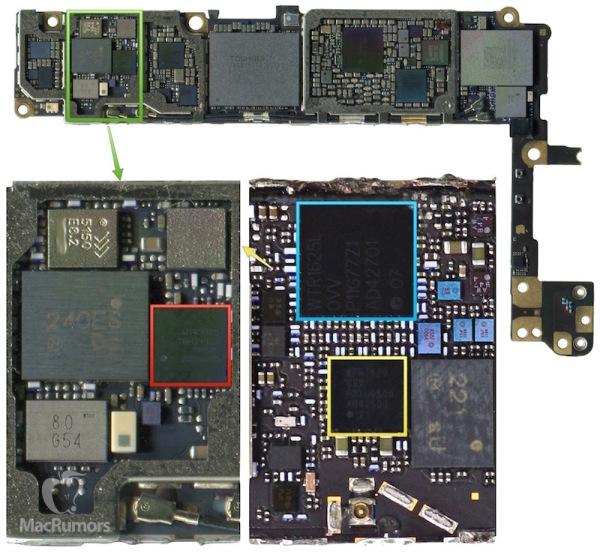 下方左右兩側分別為 iPhone 6s 及 iPhone 6 底板,可見兩者的設計有所不同