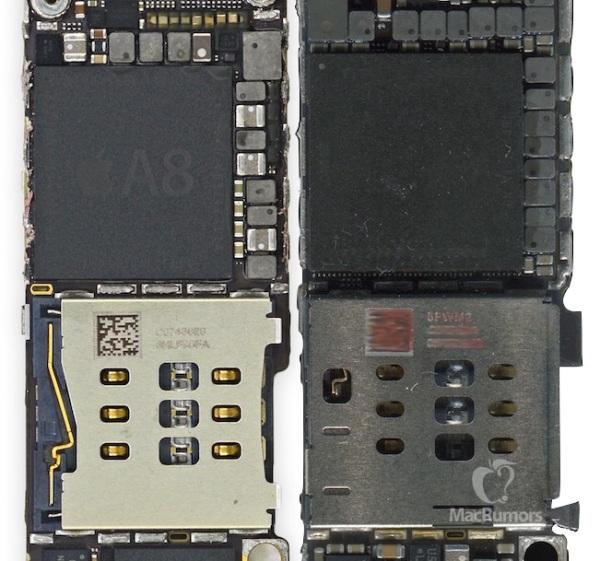 右面的 A9 處理器面積明顯比 A8 處理器稍大