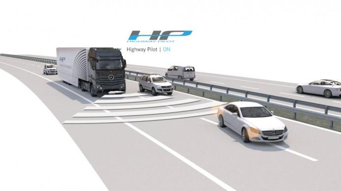 Mercedes-Benz Actros mit Highway Pilot auf der Autobahn (Highway Pilot ON)