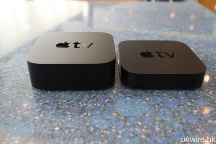 但看厚度的話,第 4 代 Apple TV 的機身明顯較厚。