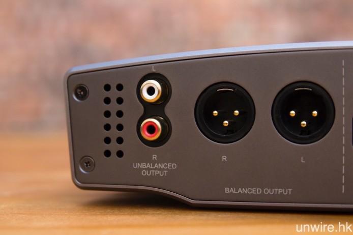 輸出端子方面,除設有 RCA Audio 紅白輸出外,Essence One MKII 還設有常見於發燒級產品、傳輸訊號時有效阻斷雜訊干擾的 XLR 平衡輸出。