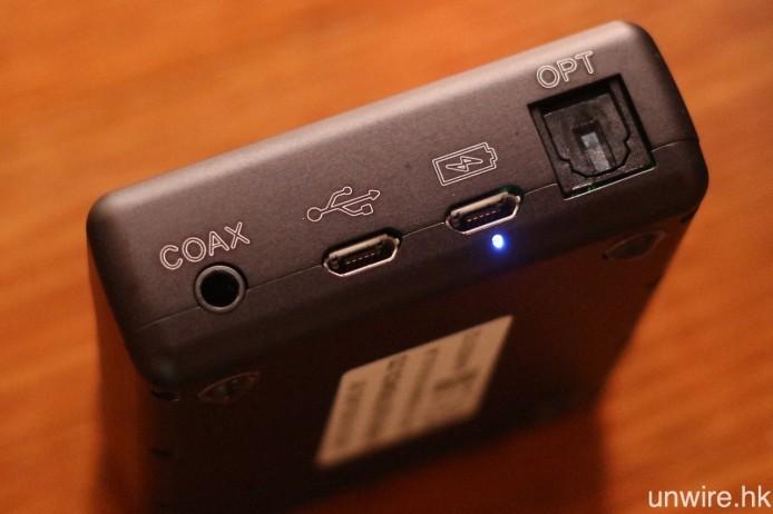 設有 3.5mm 同軸、Micro USB 及標準光纖輸入端子。