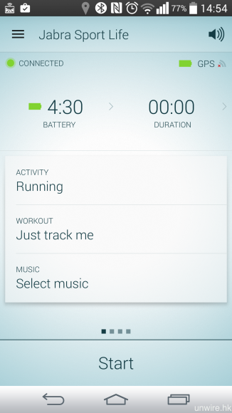 《Jabra Sport Life》app 可顯示耳機的電量、運動持續時間、平均速度、總卡路里消耗等多項資訊,你亦可選擇散步、跑步、踏單車、行山等運動種類,用以獲得相應的運動數據資訊。