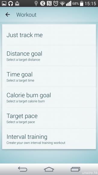 用戶亦可在 app 中設定各種運動目標,例如距離、時間、總卡路里消耗等等。