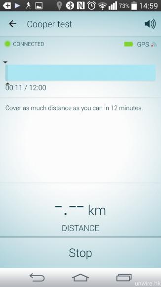 Jabra Sport Pace Wireless 亦對應 12 分鐘 Cooper test 跑步測試,紀錄用戶在 12 分鐘內最長的跑步距離並加以分析。