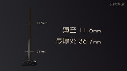 由於採用分體式設計,因此小米電視 3 的屏幕就可做到只有 11.6mm 薄。