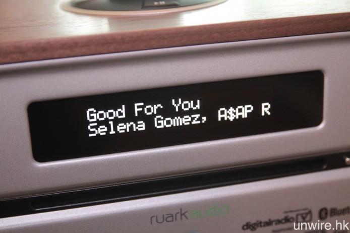 支援 aptX 藍牙解碼,無線播放時能夠顯示歌曲名稱、歌手等資訊。