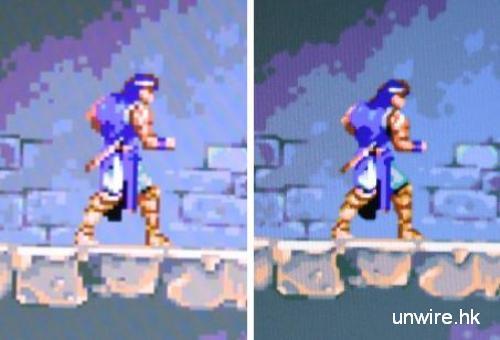 超任版《惡魔城 X》畫面,左面未開任何效果,而右方則將 filter 設定為「Super Eagle」,可以看到影像更加細緻
