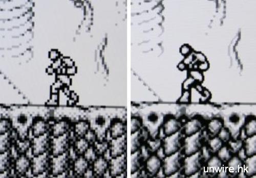 Gameboy 版《惡魔城》畫面分別就更加明顯,upscale 之後畫面基本上就不再出現點點,背景及人物的線條變得更順滑