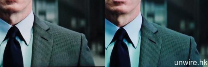 左 :1080P Youtube / 右:經 Z5P 倍線後的 4K 效果