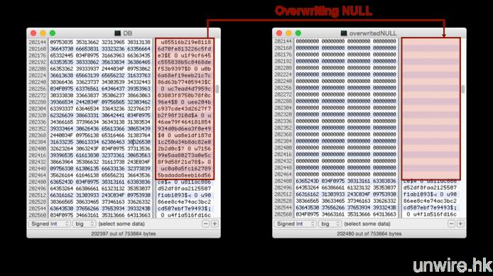 重寫後的儲存區域,可見到完全消除,不像平日般可能被修復軟件回復。