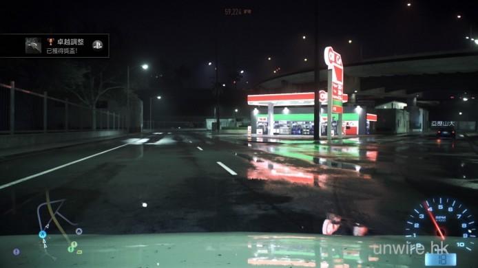看在地下的反光,跟車頭蓋的反光,這個 view 真的比第三方後視點好得多