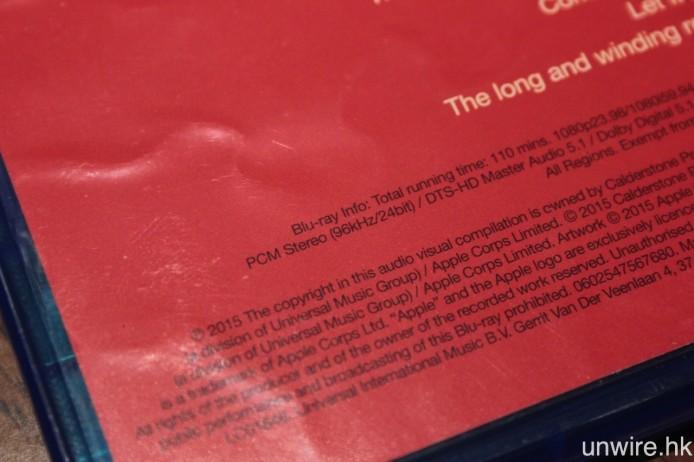 像艾域剛購入的《The Beatles 1》Blu-ray,就包括了 24bit/96kHz Hi-Res PCM 聲軌,抽取出來放在 CAS 或 DAP 中聆聽就最適合不過。
