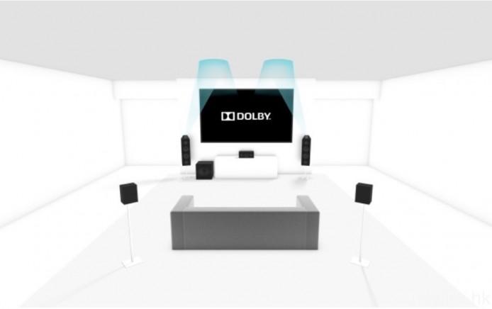 至於艾域自己家中則已加設 Dolby Atmos 附加喇叭模組,配合支援 Dolby Atmos 及 DTS:X 的擴音機,就可輸出如圖所示的 5.1.2 架構的物件導向式環繞聲。